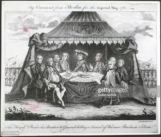 The King of Prussia his brothers and generals holding a Council of War near Breslau in Silesia during the Seven Years' War By Command from Berlin for...