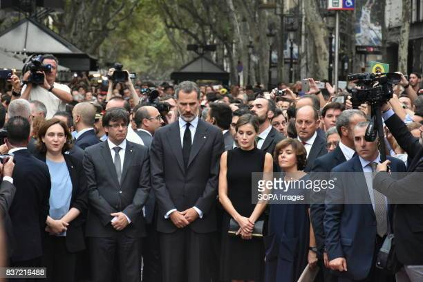 The King of Spain Don Felipe VI and Queen Dona Leticia attend a vigil and lay flowers for the victims of the attacks in Barcelona