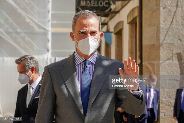 The King of Spain, Felipe VI, greets his arrival at the I World Xacobeo Congressin the Pazo Fonseca on June 03, 2021 in Santiago de Compostela,...