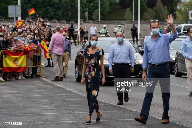 The King of Spain, Felipe VI, greets upon his arrival in the Cantabrian town of Torrelavega, Spain, on July 29, 2020 during his visit to the...
