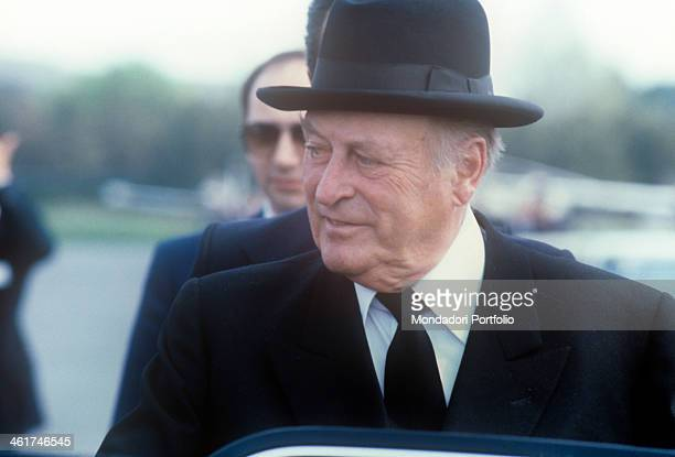 The king Olav V of Norway getting into a car Olav V just landed at the airport of Belgrade to attend the funerals of Josip Broz Tito Belgrade 8th May...