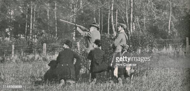 The King shooting over Sandringham preserves', 1900s, . King Edward VII shooting on the royal estates at Sandringham in Norfolk. From a commemorative...