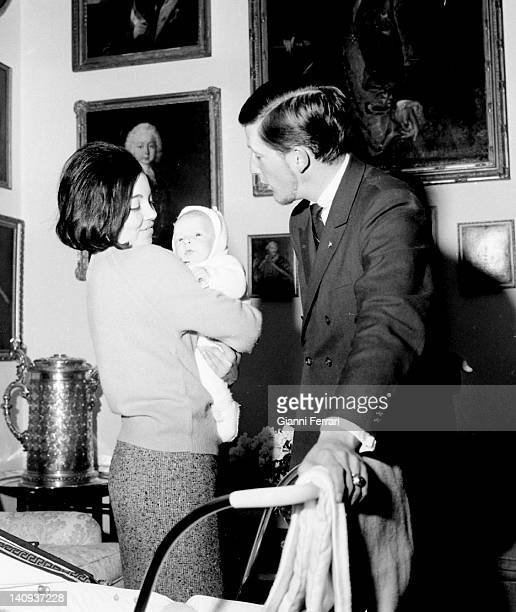 The King Simeon of Bulgaria and his wife Margarita Gomez Acebo with Kardam, their first child Madrid, Spain.