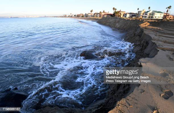 The king tide as seen from southeast end of the Peninsula next to 72nd Place where the waves crashed against the berm in Long Beach on Friday January...