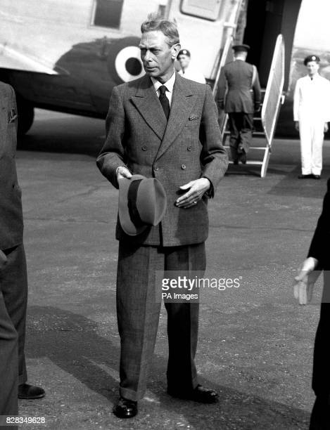 The King who came to London for a health checkup about to board an aircraft of the King's Flight at London Airport He was to fly to Dyce Airport on...