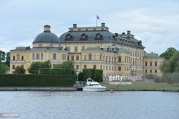 The kingCarl Gustav's boat is moored outside Drottningholm Castle during preparations for Princess Leonore's Royal Christening on june 7 2014 in...