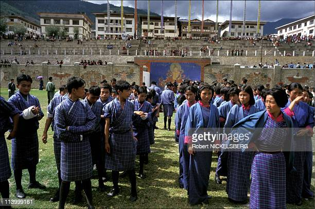 The kingdom of Bhutan In August, 1999-Thimphu: practise for King's birthday cermonies.