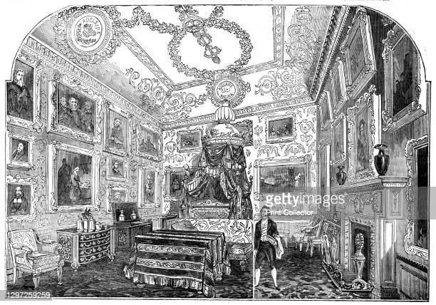 The King's Bed Chamber, Windsor Castle, 1844. One of the rooms in the King's State Apartment created for Charles II in the late 1670s. 'The...