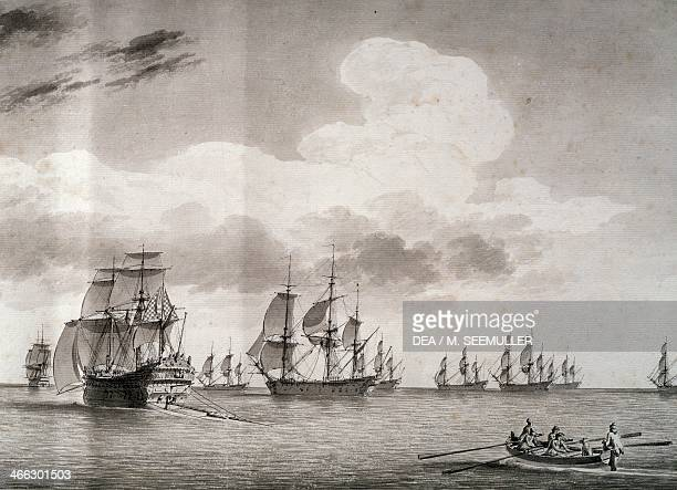 The king's fleet under the command of Admiral d'Estaing departing for Boston in 1778 drawing 18th century