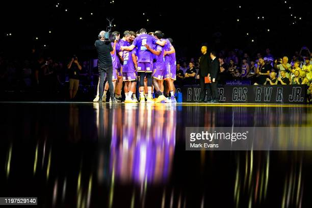 The Kings huddle before tip off during the round 14 NBL match between the Sydney Kings and the Adelaide 36ers at Qudos Bank Arena on January 04 2020...