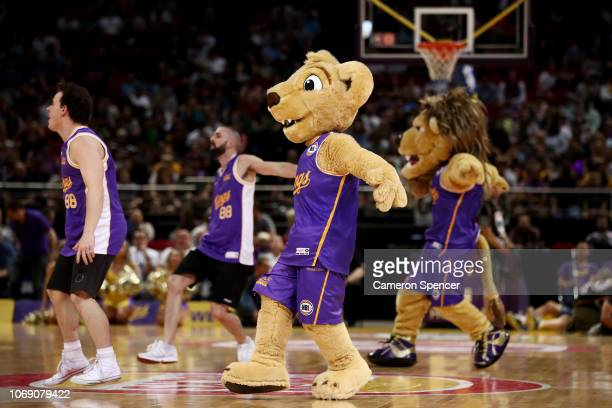 The Kings mascot and performers dance during the round six NBL match between the Sydney Kings and the New Zealand Breakers at Qudos Bank Arena on...