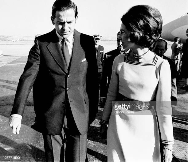 The kings of Greece Constantine and Anamaria at the airport of Barajas Madrid Spain