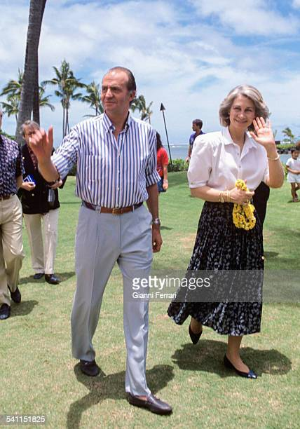 The Kings of Spain Juan Carlos of Borbon and Sofia of Greece in Honolulu 23rd June 1988 Hawai United States