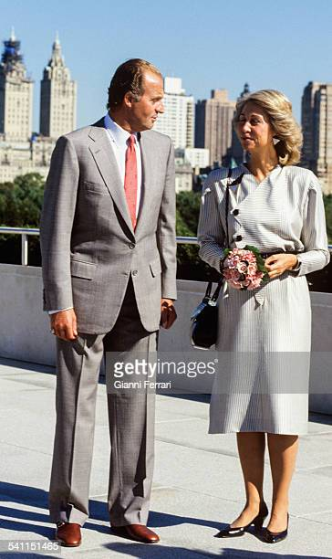 The Kings of Spain Juan Carlos of Borbon and Sofia of Greece in New York 15th September 1987 New York United States