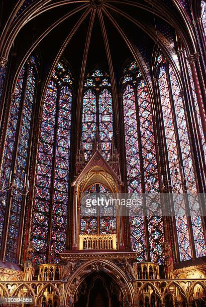 the King's sanctuary Sainte Chapelle in Paris France in 1994 Stained glasses