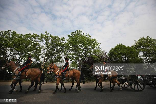The King's Troop are led to St John's Wood Barracks on April 18 2011 in London England The annual inspection of the King's Troop was conducted...