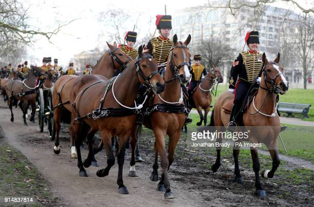 The King's Troop Royal Horse Artillery arrive to mark the 66th anniversary of the Queen's accession to the throne with a 41 Gun Royal Salute in Hyde...