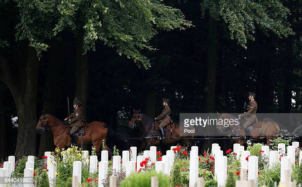 The Kings troop Royal horse artillery attend a commemoration event during the 100th anniversary of the beginning of the Battle of the Somme at the...