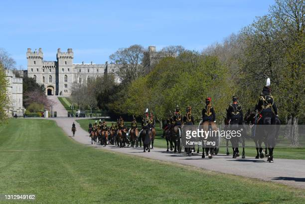 The King's Troop, Royal Horse Artillery enter into Windsor Castle ahead of the funeral of Prince Philip, Duke of Edinburgh on April 17, 2021 in...