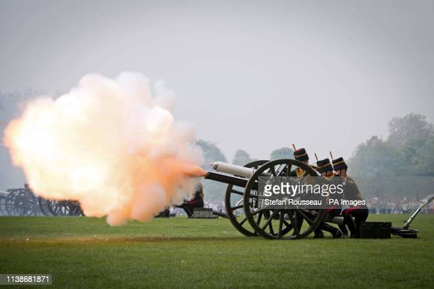 The King's Troop Royal Horse Artillery fire a 41 Gun Royal Salute to mark Queen Elizabeth II's 93rd birthday in Hyde Park London