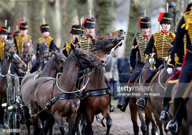 The King's Troop Royal Horse Artillery leave after marking the 66th anniversary of the Queen's accession to the throne with a 41 Gun Royal Salute in...