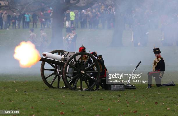 The King's Troop Royal Horse Artillery mark the 66th anniversary of the Queen's accession to the throne with a 41 Gun Royal Salute in Hyde Park London