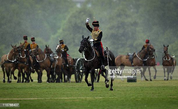 The King's Troop Royal Horse Artillery ride into Hyde Park to fire a 41Gun Royal Salute to celebrate The Duke of Edinburgh's 90th birthday on June 10...