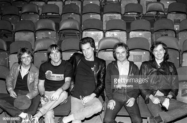 The Kinks group portrait in the auditorium at The Spectrum in Philadelphia PA on October 27 1980 LR Ian Gibbons Mick Avory Ray Davies Jim Rodford...
