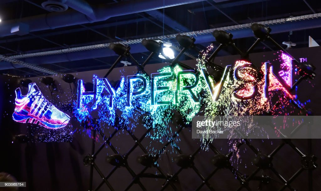 The Kino-mo Hypervsn, a 3D holographic LED signage is displayed
