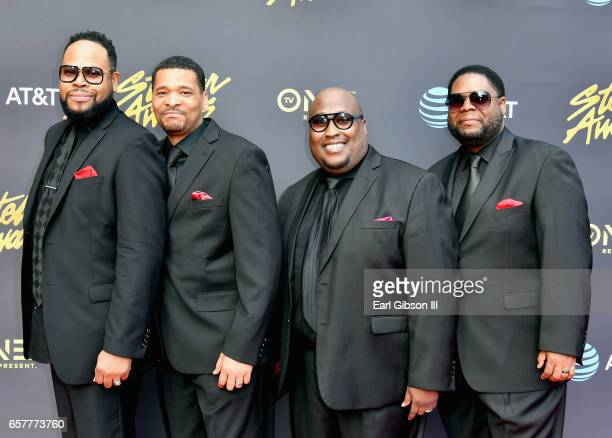 The Kinsmen arrive at the 32nd annual Stellar Gospel Music Awards at the Orleans Arena on March 25, 2017 in Las Vegas, Nevada.