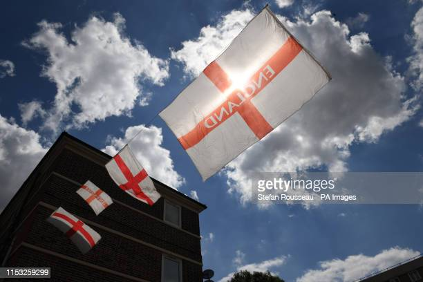 The Kirby Estate in south east London is decorated with St George flags ahead of Women's World Cup semi final between England and the USA in France