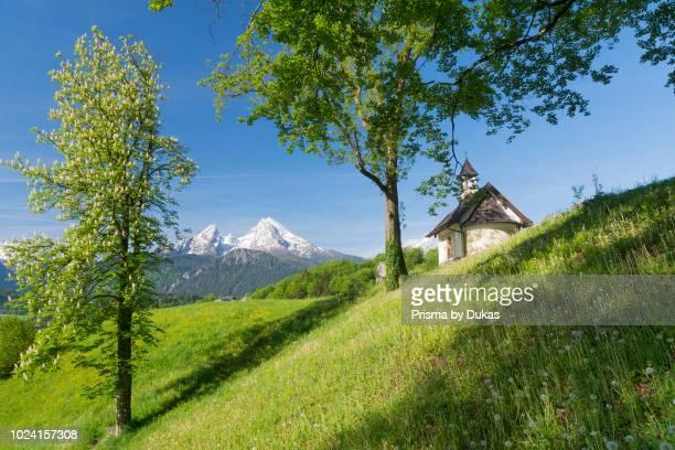 The Kirchleitn chapel in the Mitterweinfeld near Berchtesgaden the background