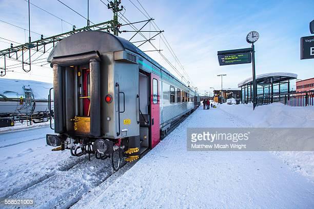 The Kiruna train station after a winter snowstorm