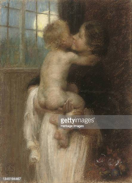 The Kiss, circa 1910. Private Collection. Artist Stott, Edward .
