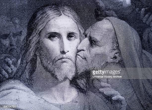 The Kiss. Judas Iscariot Kisses Jesus Christ In The Garden Of Gethsemane. From El Mundo Ilustrado, Published Barcelona, Circa 1880.