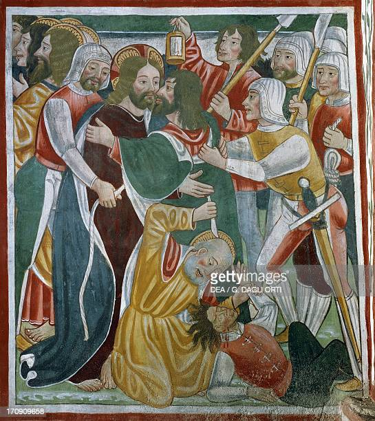 The kiss of Judas 15th16th century detail from the Biblia Pauperum fresco attributed to Cagnola or Cagnoli Workshop Church of the Most Holy Trinity...