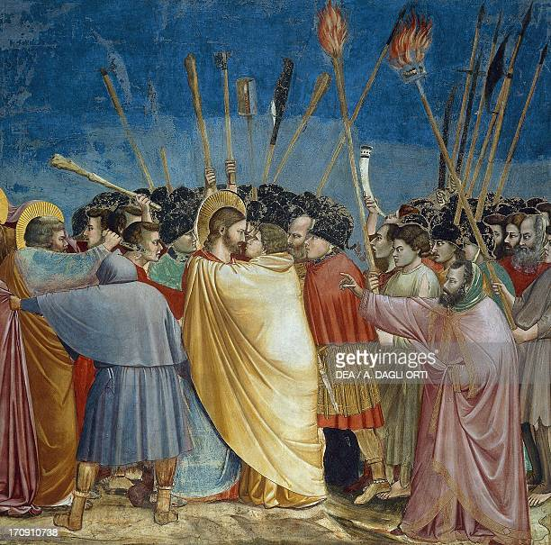 The kiss of Judas by Giotto detail from the cycle of frescoes Life and Passion of Christ 13031305 after the restoration in 2002 Scrovegni Chapel...