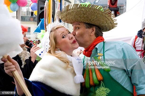 The kissing major of Bonn Juergen Nimptsch enjoys the carnival season as Bonn celebrates 'Fat Thursday' on February 27 2014 in Bonn Germany
