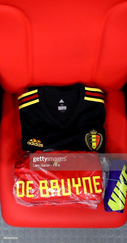 new arrival 7fe93 35bec The Kit for Kevin De Bruyne is seen inside the Belgium ...