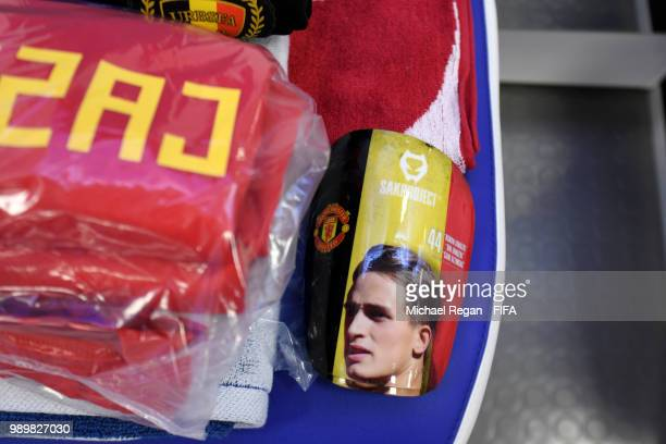 The Kit of Adnan Januzaj of Belgium is seen inside the Belgium dressing room priorto the 2018 FIFA World Cup Russia Round of 16 match between Belgium...