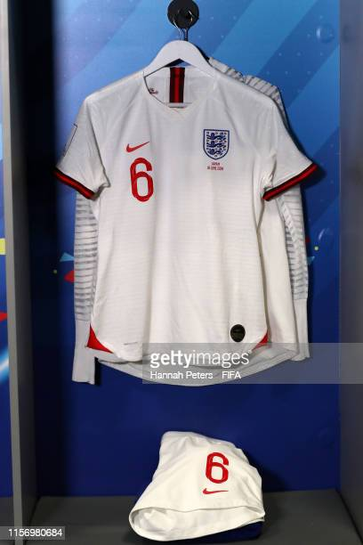 The kit of Millie Bright of England is displayed inside the England dressing room ahead of the 2019 FIFA Women's World Cup France group D match...