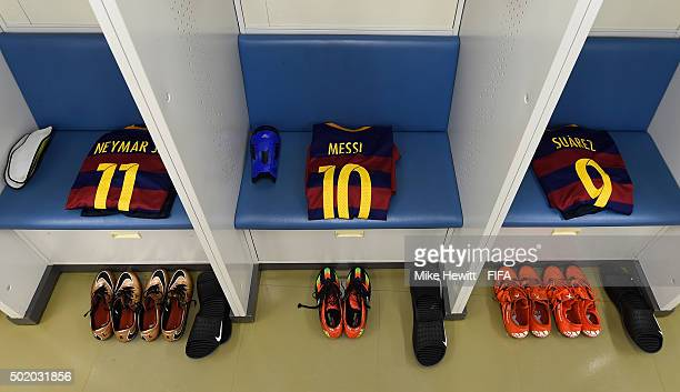 The kit of Neymar Lionel Messi and Luis Suarez is laid out in the Barcelona dressing room ahead of the FIFA Club World Cup Japan 2015 Final between...