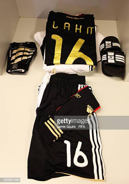 The kit of Philipp Lahm of Germany is seen in their dressing room before the 2010 FIFA World Cup South Africa Group D match between Ghana and Germany...