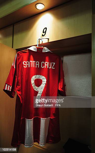 The kit of Roque Santa Cruz of Paraguay hangs on diplay in the dressing room ahead of the 2010 FIFA World Cup South Africa Round of Sixteen match...