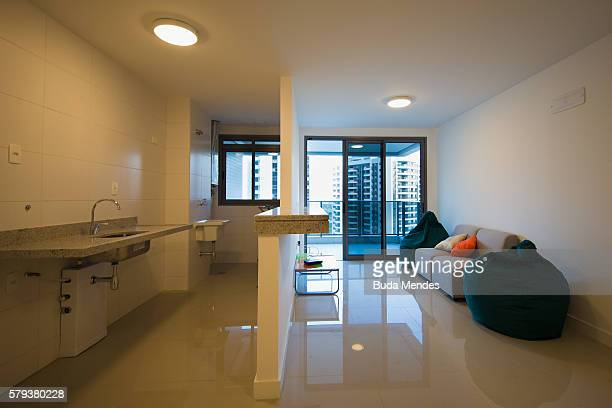 The kitchen and living room of one of the units within the Olympic and Paralympic Village for the 2016 Rio Olympic Games The Village will host up to...