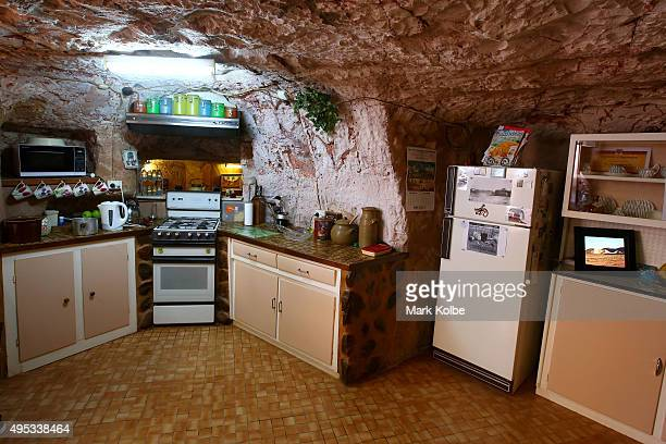 The kitchen area is seen inside Faye's Underground Home on October 22 2015 in Coober Pedy AustraliaThis three bedroom dugout as locals call...