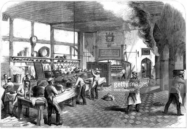 The kitchen at Charterhouse School Godalming Surrey 1867 From The Illustrated London News