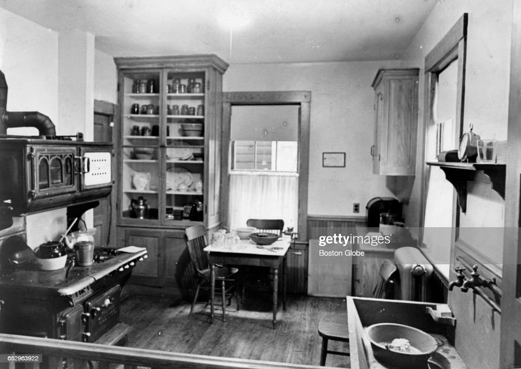 The kitchen in the Brookline, MA birthplace of President John F. Kennedy is pictured on May 28, 1969.