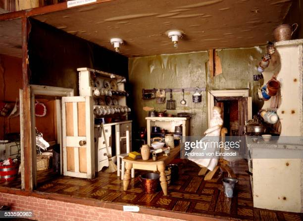 the kitchen in the hammond dolls house at wallington, northumberland - morpeth stock pictures, royalty-free photos & images