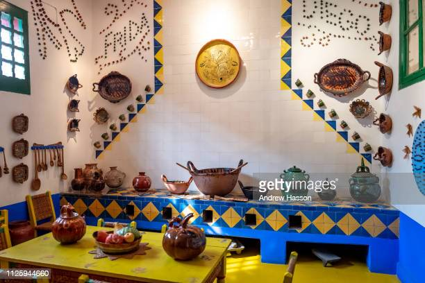 The kitchen inside the Casa Azul, or Blue House, in Mexico City, the museum dedicated to artist Frida Kahlo on January 17, 2019 in Mexico City,...